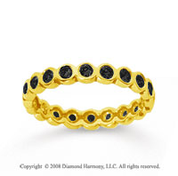 1/2 Carat Black Diamond 14k Yellow Gold Round Bezel Eternity Band