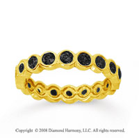 1 Carat Black Diamond 14k Yellow Gold Round Bezel Eternity Band