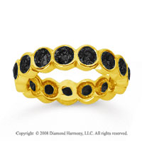 2 Carat Black Diamond 14k Yellow Gold Round Bezel Eternity Band
