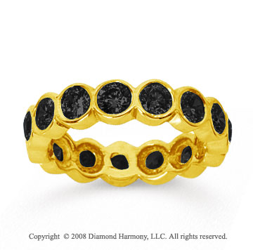 2 1/2 Carat Black Diamond 14k Yellow Gold Round Bezel Eternity Band