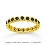 1/2 Carat Black Diamond 18k Yellow Gold Round Bezel Eternity Band