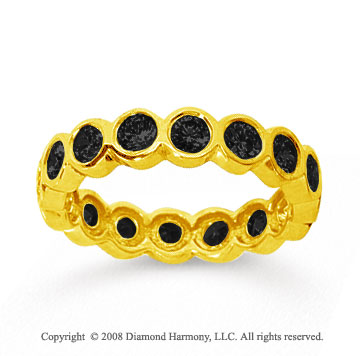 1 1/2 Carat Black Diamond 18k Yellow Gold Round Bezel Eternity Band