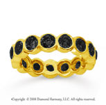 2 Carat Black Diamond 18k Yellow Gold Round Bezel Eternity Band