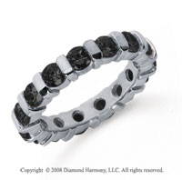 2 1/2 Carat Black Diamond Platinum Eternity Round Bar Band