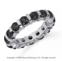 3 Carat Black Diamond Platinum Eternity Round Bar Band