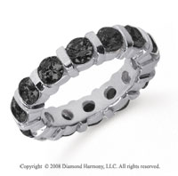 4 Carat Black Diamond Platinum Eternity Round Bar Band