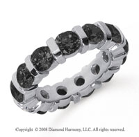 5 Carat Black Diamond Platinum Eternity Round Bar Band