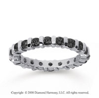 1 Carat Black Diamond 18k White Gold Eternity Round Bar Band