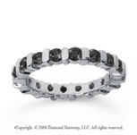 1 1/2 Carat Black Diamond 18k White Gold Eternity Round Bar Band