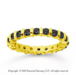 1 Carat Black Diamond 14k Yellow Gold Eternity Round Bar Band