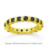 1 1/2 Carat Black Diamond 14k Yellow Gold Eternity Round Bar Band