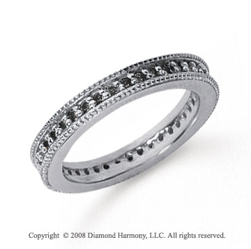 1/2 Carat Black Diamond Platinum Milgrain Prong Eternity Band