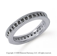 3/4 Carat Black Diamond Platinum Milgrain Prong Eternity Band