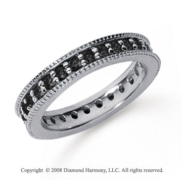 1 Carat Black Diamond Platinum Milgrain Prong Eternity Band