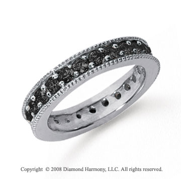 1 1/4 Carat Black Diamond Platinum Milgrain Prong Eternity Band