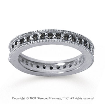 3/4 Carat Black Diamond 14k White Gold Milgrain Prong Eternity Band