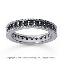 1 Carat Black Diamond 14k White Gold Milgrain Prong Eternity Band