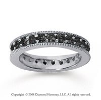 1 1/4Carat Black Diamond 14k White Gold Milgrain Prong Eternity Band