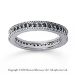 1/2 Carat Black Diamond 18k White Gold Milgrain Prong Eternity Band