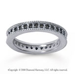 3/4 Carat Black Diamond 18k White Gold Milgrain Prong Eternity Band