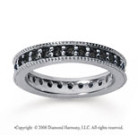 1 Carat Black Diamond 18k White Gold Milgrain Prong Eternity Band