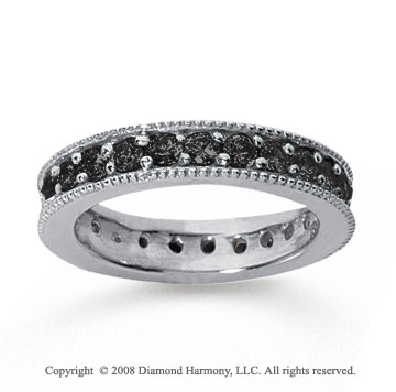 1 1/4Carat Black Diamond 18k White Gold Milgrain Prong Eternity Band