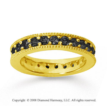 1 1/4Carat Black Diamond 14k Yellow Gold Milgrain Prong Eternity Band