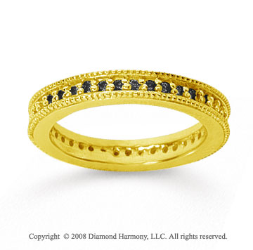 1/2 Carat Black Diamond 18k Yellow Gold Milgrain Prong Eternity Band
