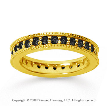 1 Carat Black Diamond 18k Yellow Gold Milgrain Prong Eternity Band