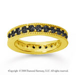 1 1/4Carat Black Diamond 18k Yellow Gold Milgrain Prong Eternity Band