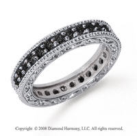 1 Carat Black Diamond Platinum Filigree Prong Eternity Band