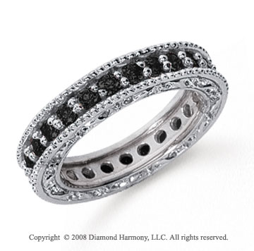 1 1/4 Carat Black Diamond Platinum Filigree Prong Eternity Band