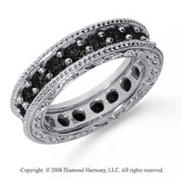 2 Carat Black Diamond Platinum Filigree Prong Eternity Band