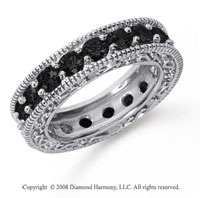 3 Carat Black Diamond Platinum Filigree Prong Eternity Band