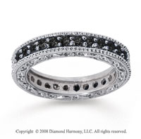 1 Carat Black Diamond 14k White Gold Filigree Prong Eternity Band