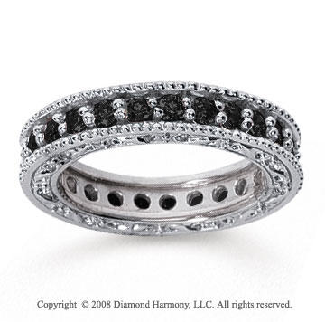 1 1/4 Carat Black Diamond 14k White Gold Filigree Prong Eternity Band