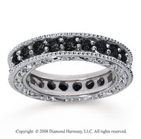 1 1/2 Carat Black Diamond 14k White Gold Filigree Prong Eternity Band
