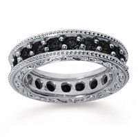 2 Carat Black Diamond 14k White Gold Filigree Prong Eternity Band