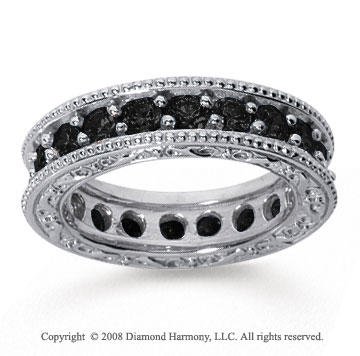 2 1/2 Carat Black Diamond 14k White Gold Filigree Prong Eternity Band