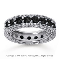 3 Carat Black Diamond 14k White Gold Filigree Prong Eternity Band