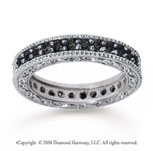 1 Carat Black Diamond 18k White Gold Filigree Prong Eternity Band