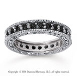 1 1/4 Carat Black Diamond 18k White Gold Filigree Prong Eternity Band