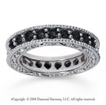 1 1/2 Carat Black Diamond 18k White Gold Filigree Prong Eternity Band