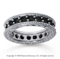 2 Carat Black Diamond 18k White Gold Filigree Prong Eternity Band