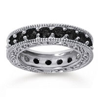 3 Carat Black Diamond 18k White Gold Filigree Prong Eternity Band