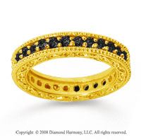 1 Carat Black Diamond 14k Yellow Gold Filigree Prong Eternity Band