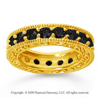 3 Carat Black Diamond 14k Yellow Gold Filigree Prong Eternity Band