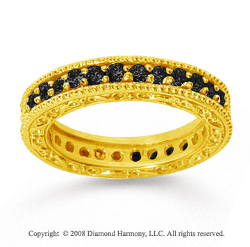 1 Carat Black Diamond 18k Yellow Gold Filigree Prong Eternity Band