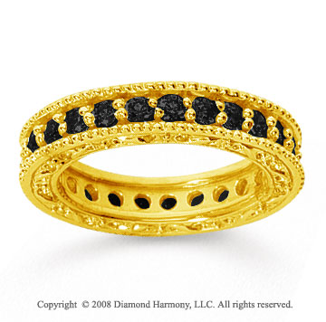 1 1/4 Carat Black Diamond 18k Yellow Gold Filigree Prong Eternity Band