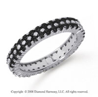 1 1/2 Carat Black Diamond Platinum Double Row Eternity Band